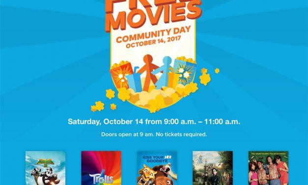 Бесплатные Фильмы в Кинотеатрах Cineplex в Субботу 14 октября с 9:00 до 11:00.